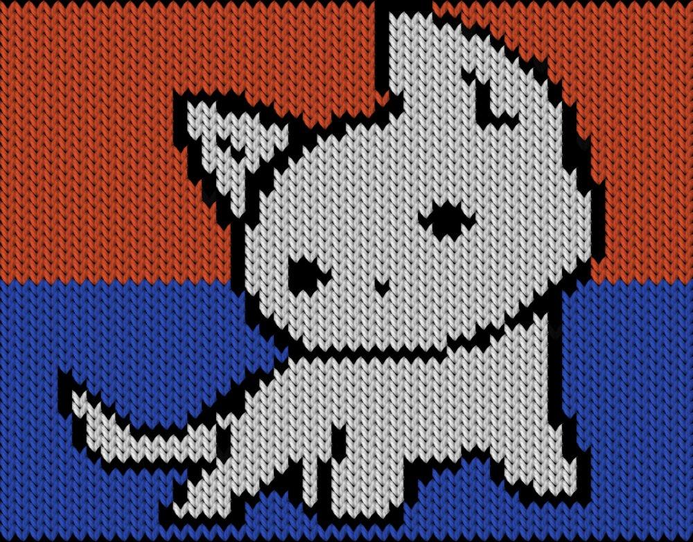 Knitting motif chart, Cute litle cat