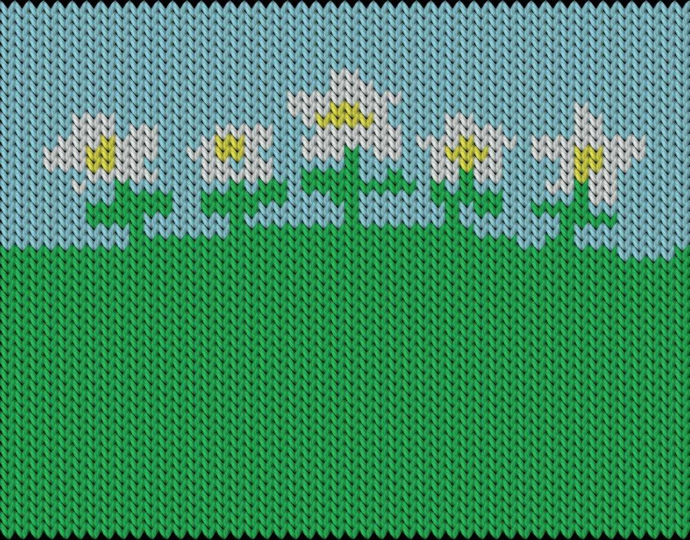 Knitting motif chart, Spring flowers