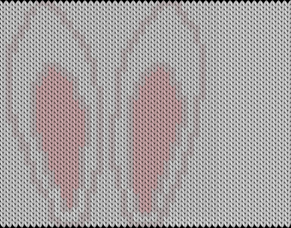 Knitting motif chart, Bunny ears