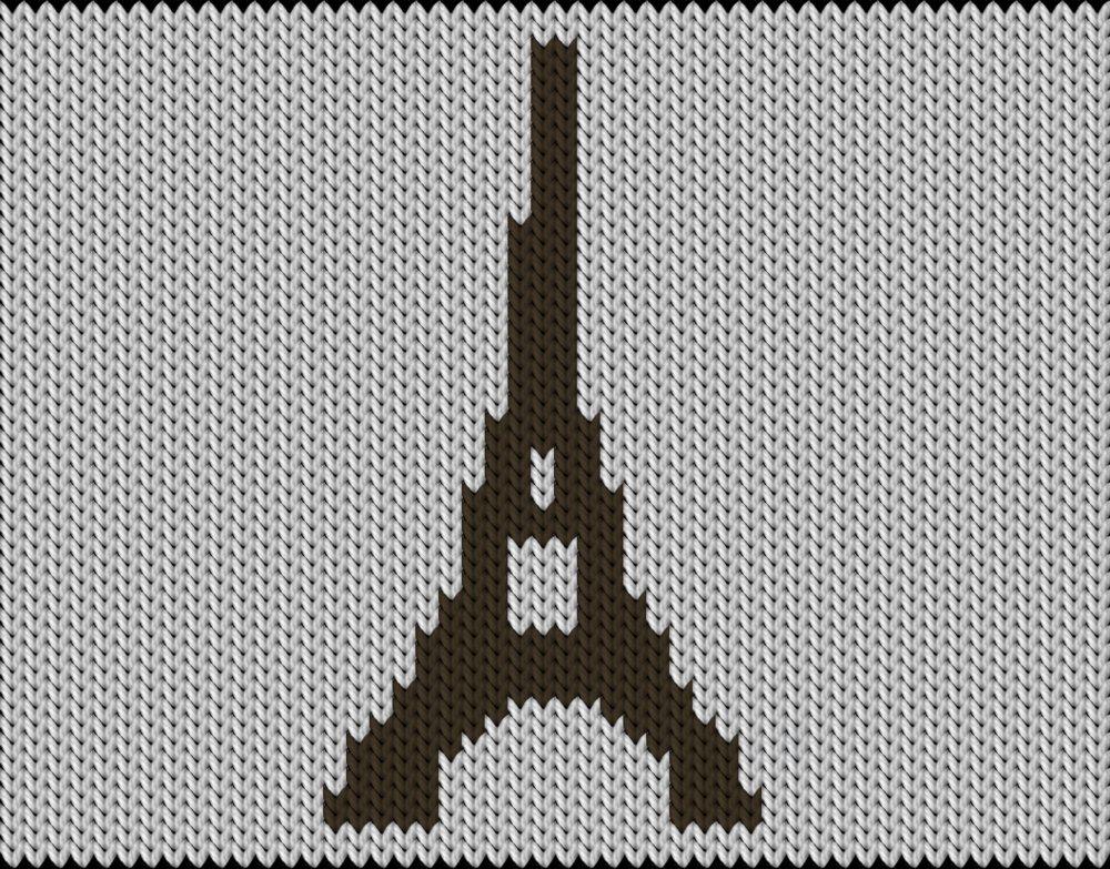 Knitting motif chart, Eiffel tower