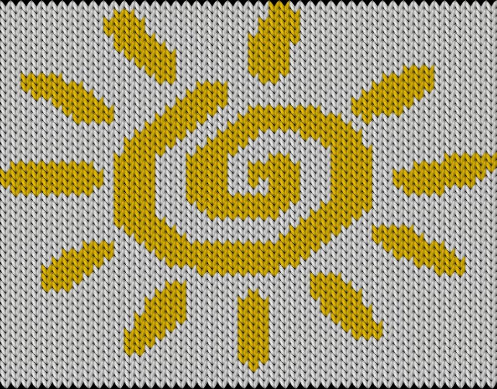 Knitting motif chart, Funny sunny