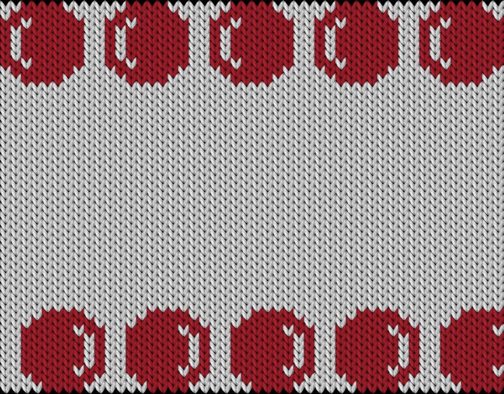 Knitting motif chart, Red Easter eggs