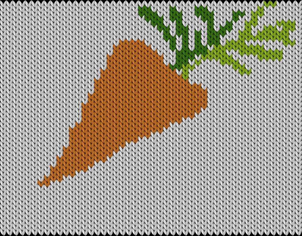 Knitting motif chart, Spring carrot