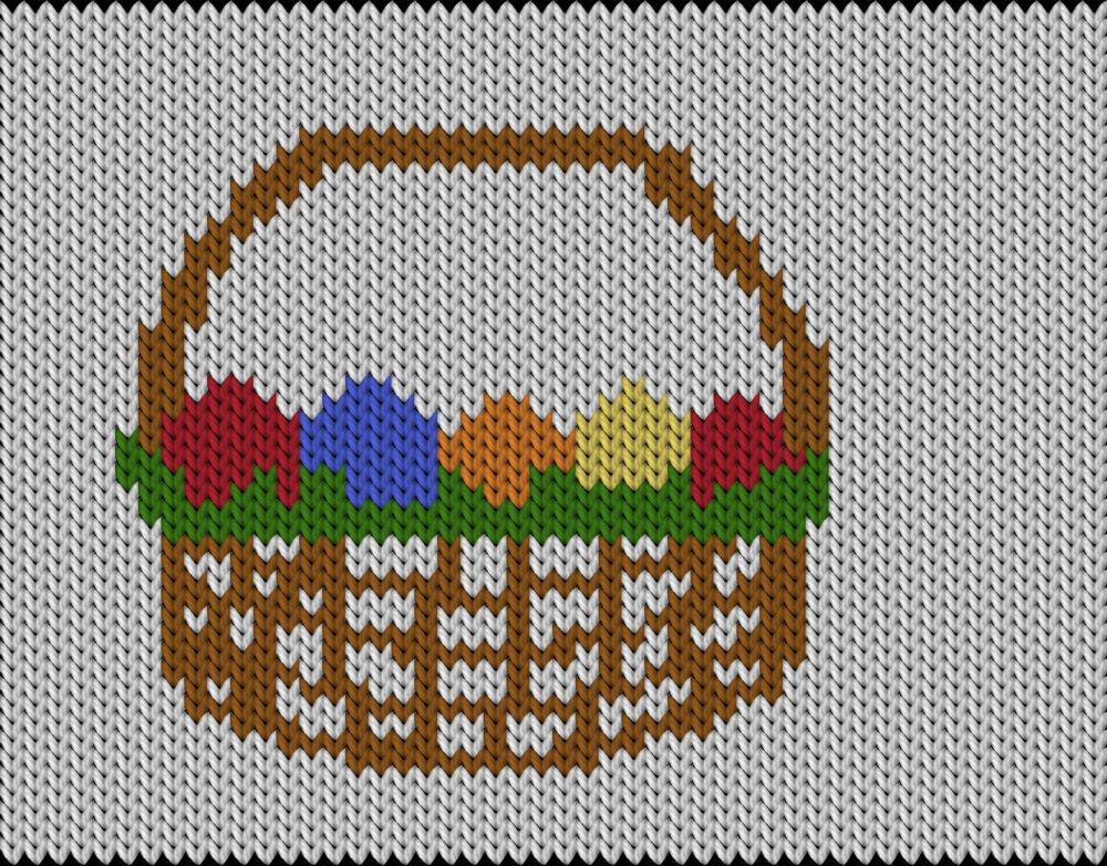 Knitting motif chart, Easter basket