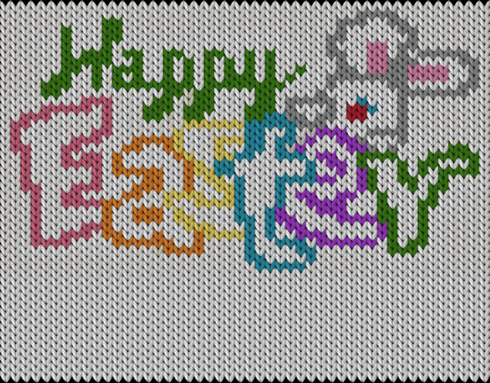 Knitting motif chart, Happy Easter!