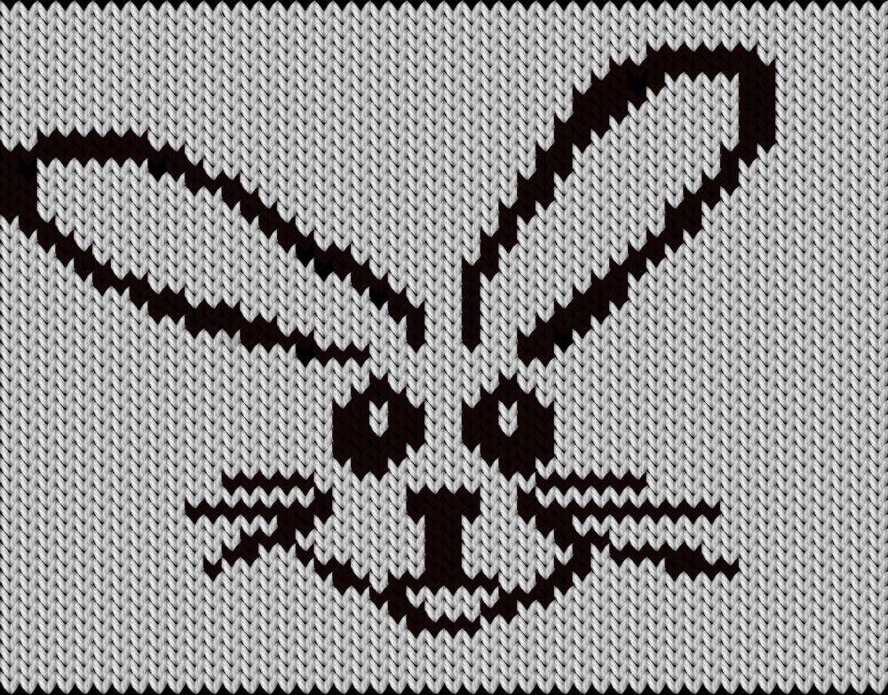 Knitting motif chart, Black Bunny