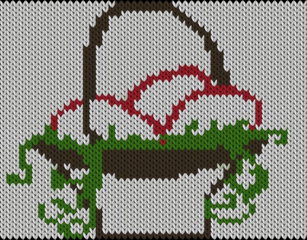 Knitting motif chart, Spring Easter basket