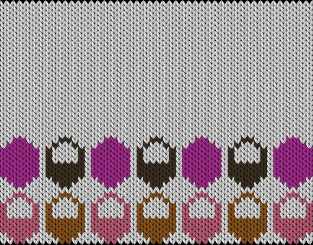 Knitting motif chart, Egg-basket