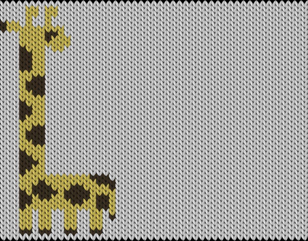 Knitting motif chart, Giraffe