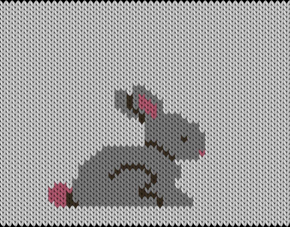 Knitting motif chart, Easter Bunny