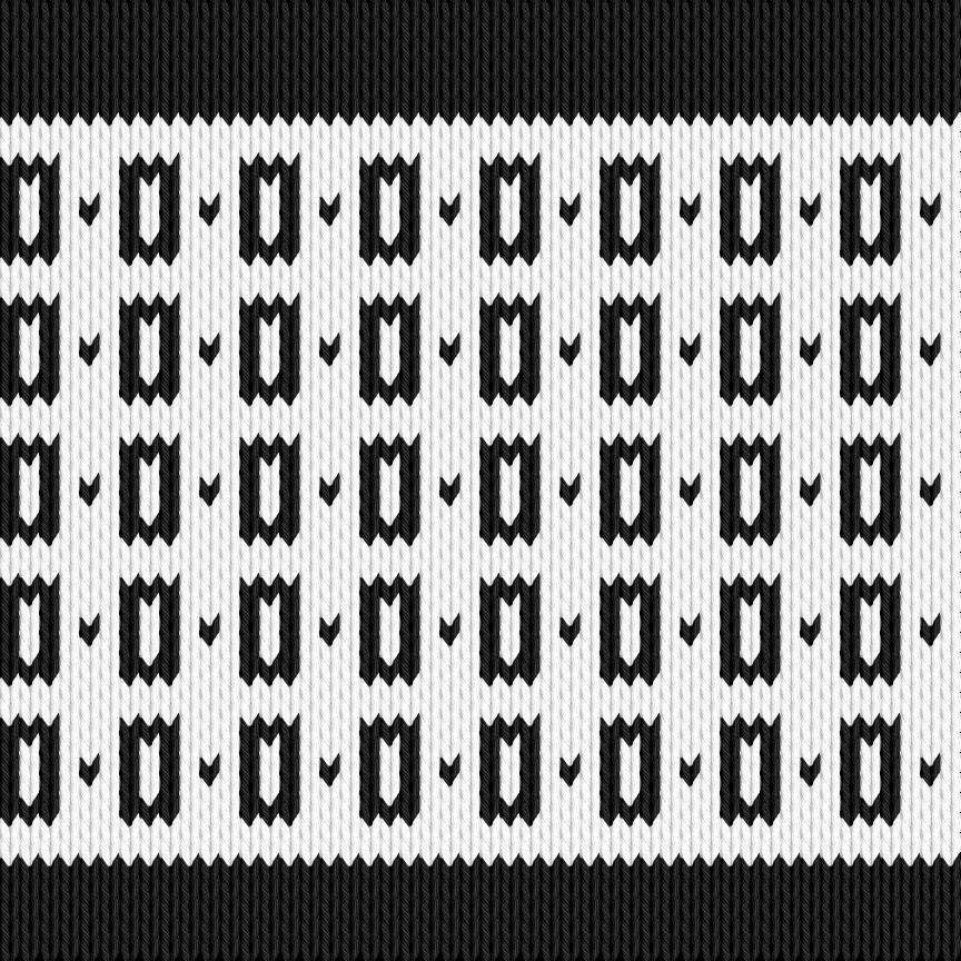 Knitting motif chart, Black - white