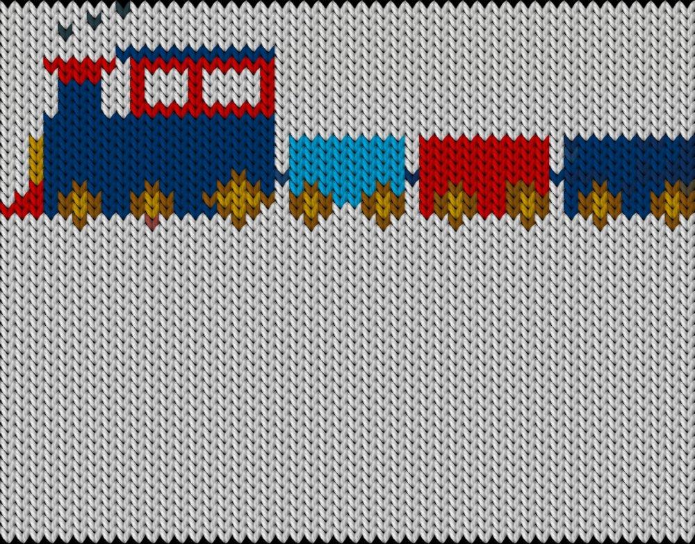 Knitting motif chart, train