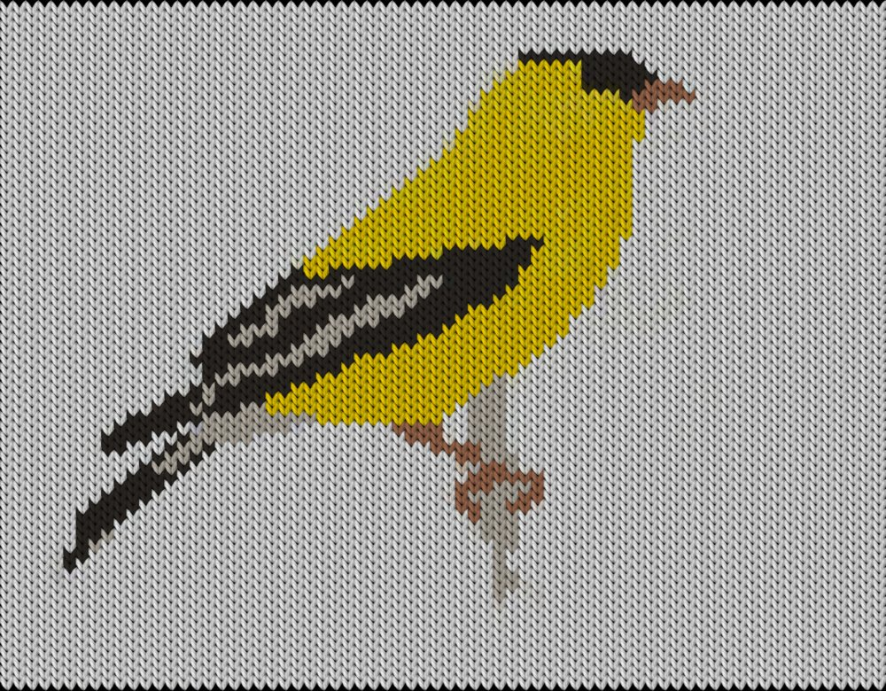 Knitting motif chart, bird