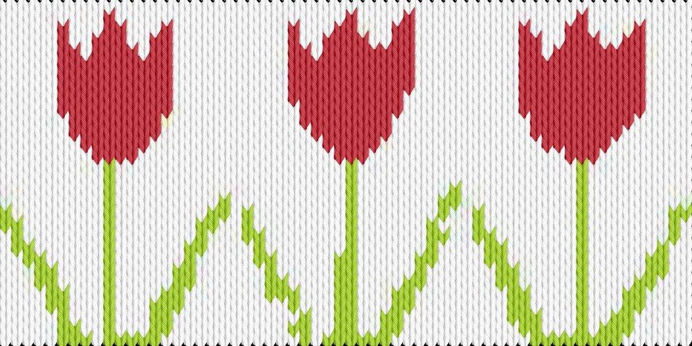 Knitting motif chart, Tulips