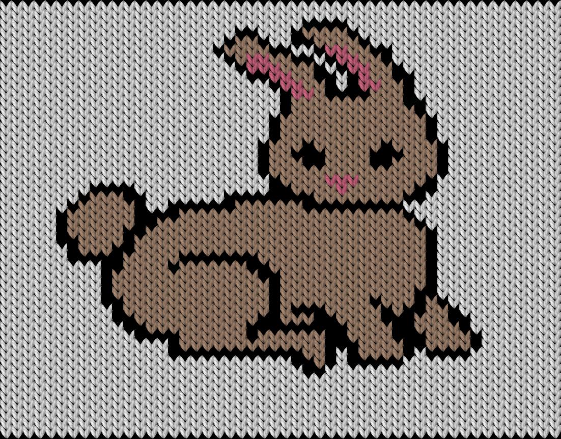 Knitting motif chart, bunny