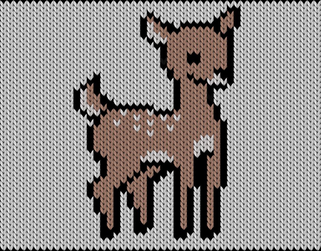 Knitting motif chart, deer