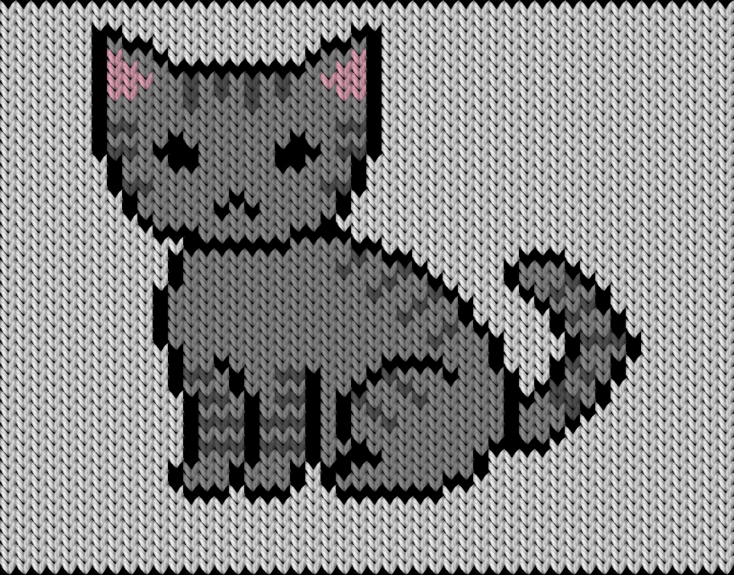 Knitting motif chart, cat