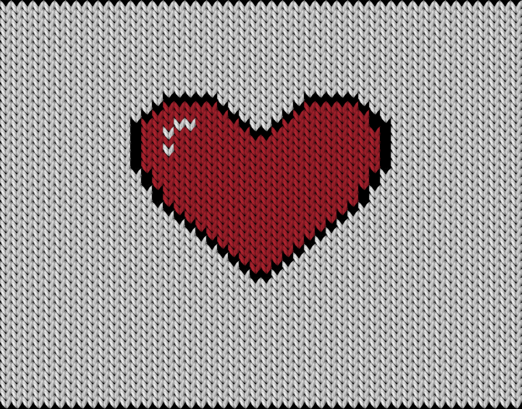 Knitting motif chart, heart