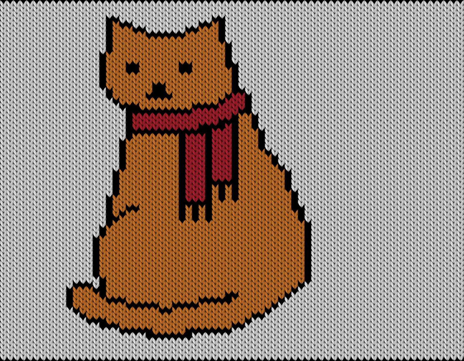 Knitting motif chart, winter cat