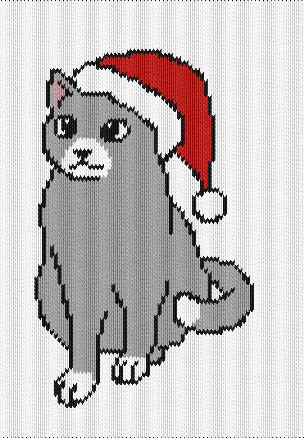 Knitting motif chart, christmas cat