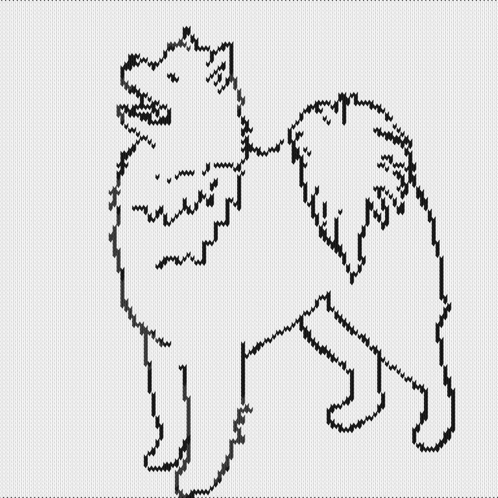 Knitting motif chart, samoyed dog