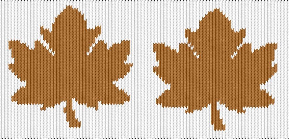 Knitting motif chart, Autumn leaf