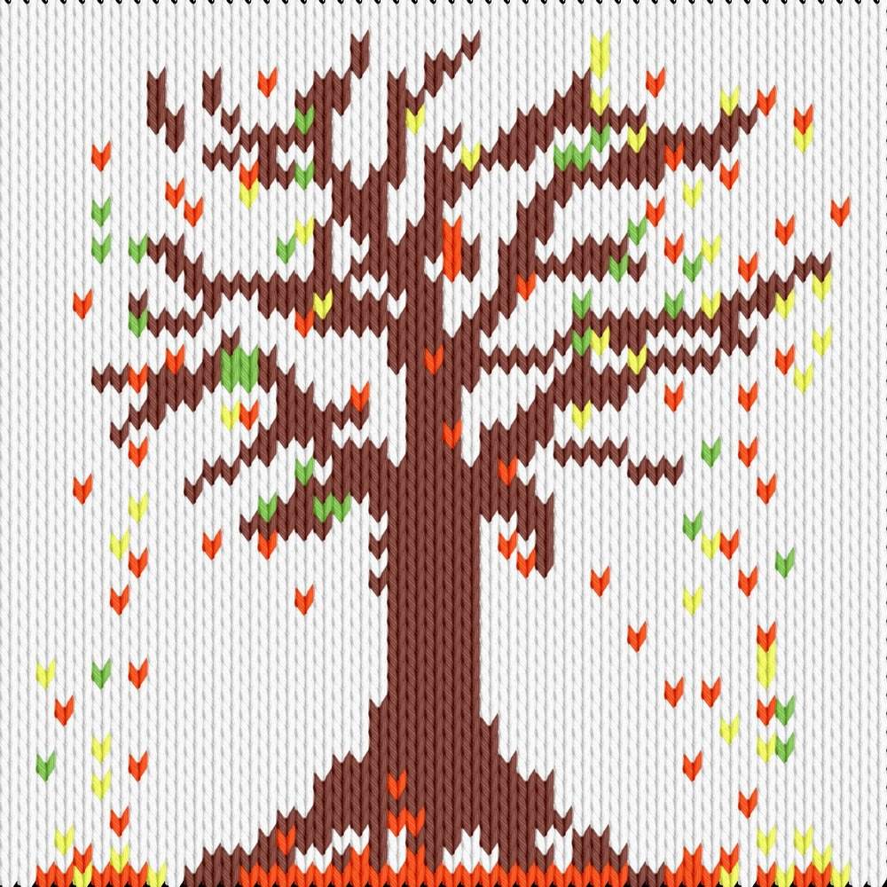 Knitting motif chart, Autumn leaf fall