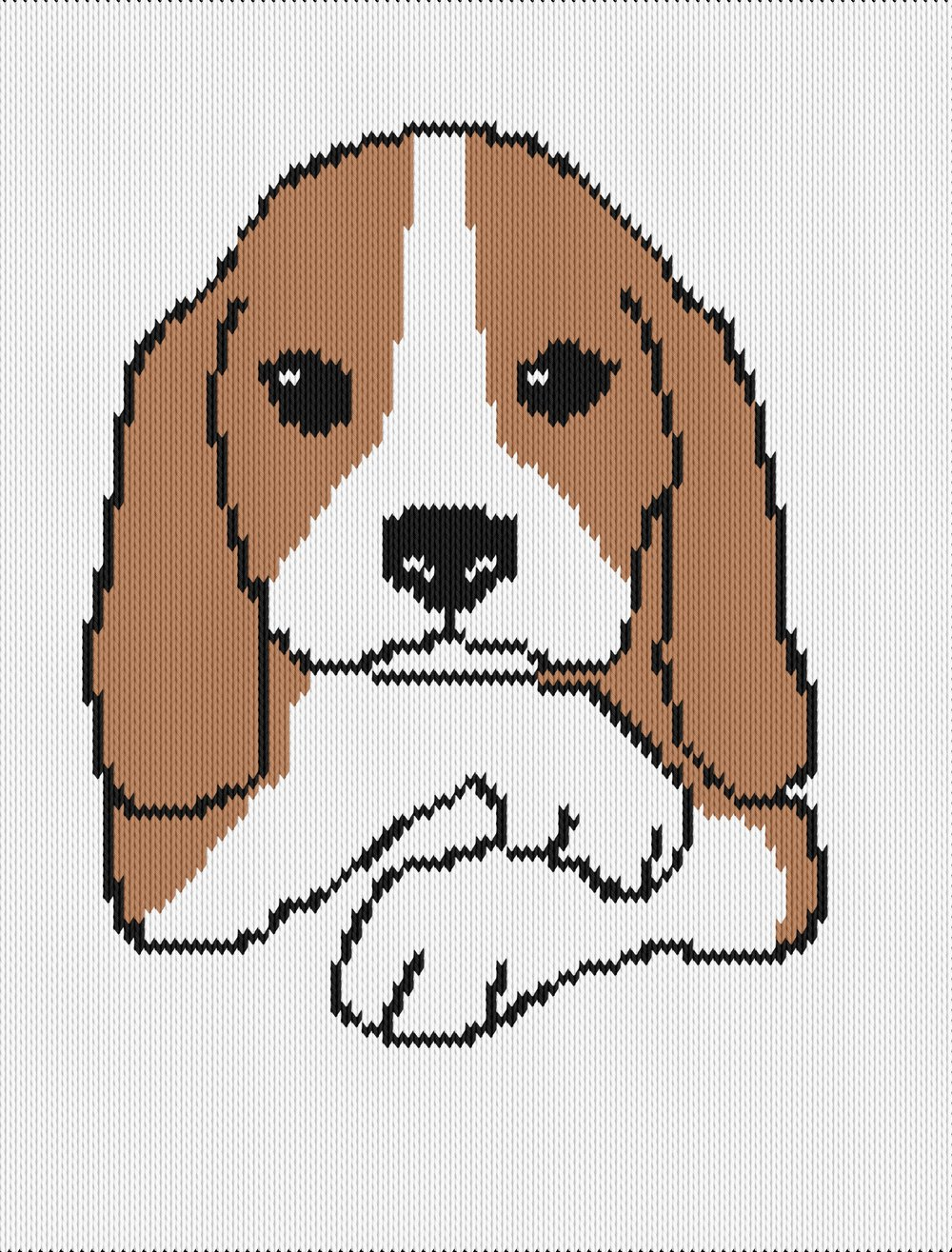 Knitting motif chart, dog