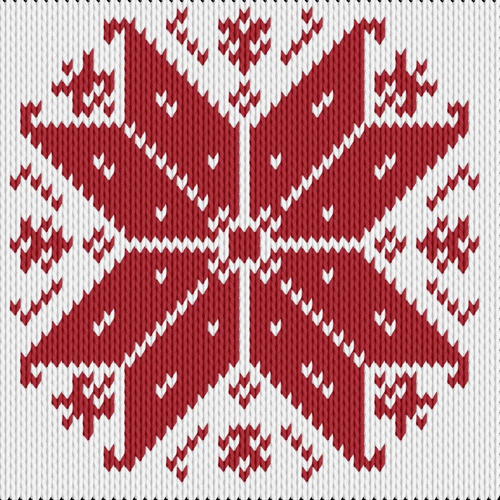 Knitting motif chart, snowflake