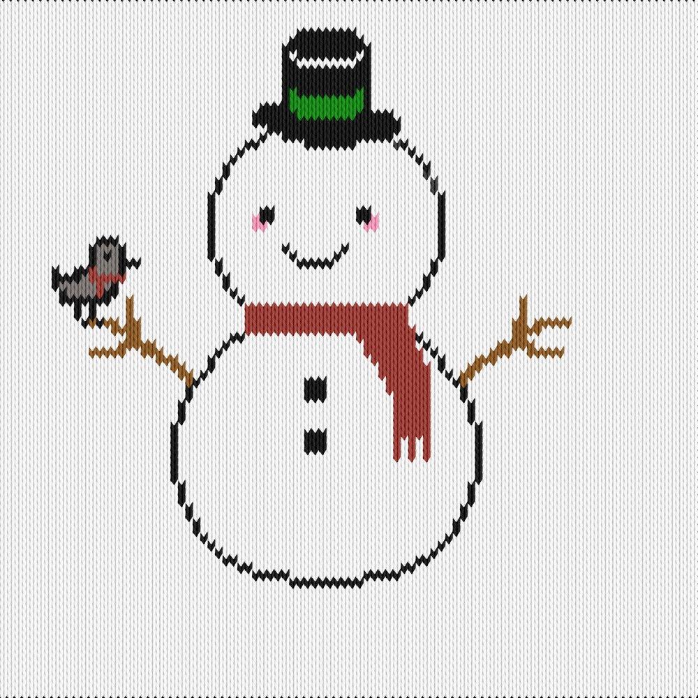 Knitting motif chart, snowman