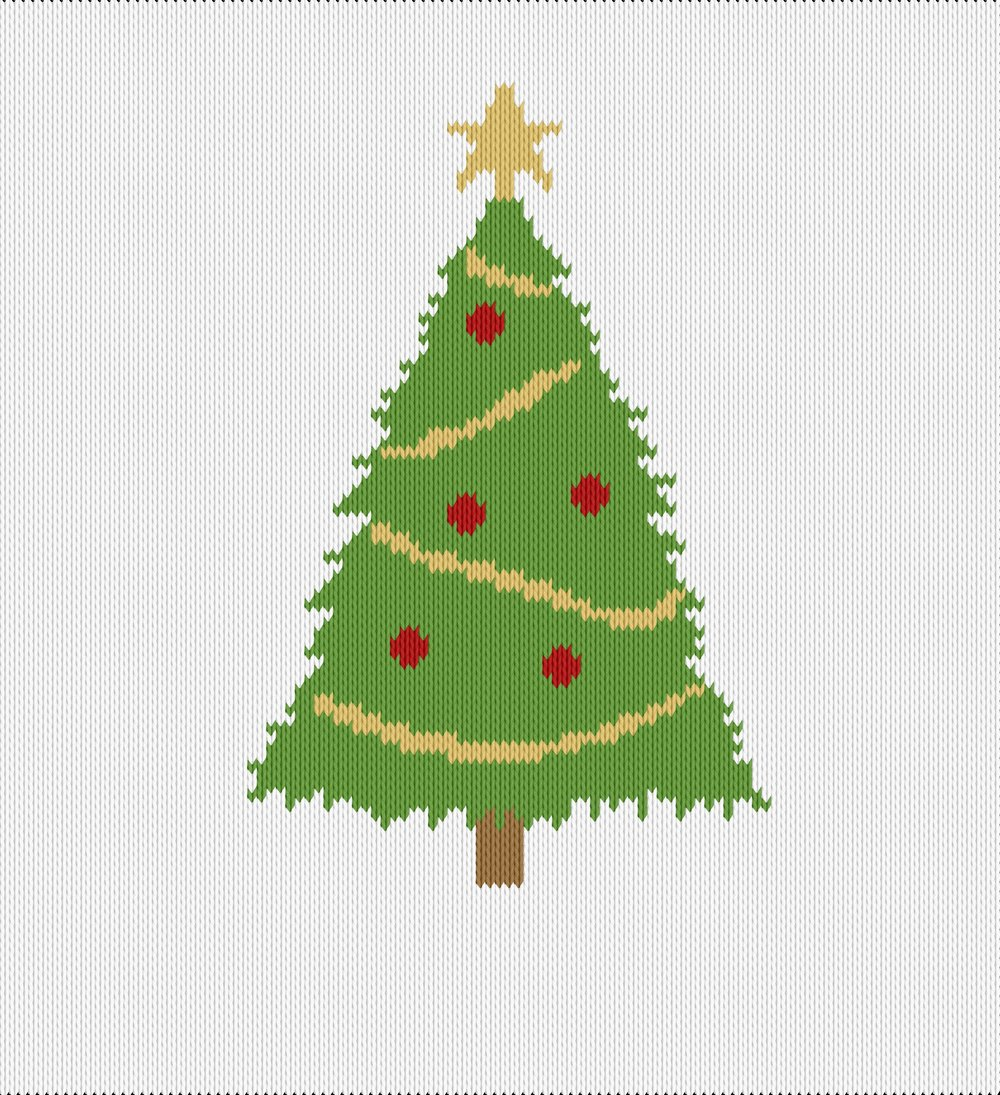 Knitting motif chart, christmas tree