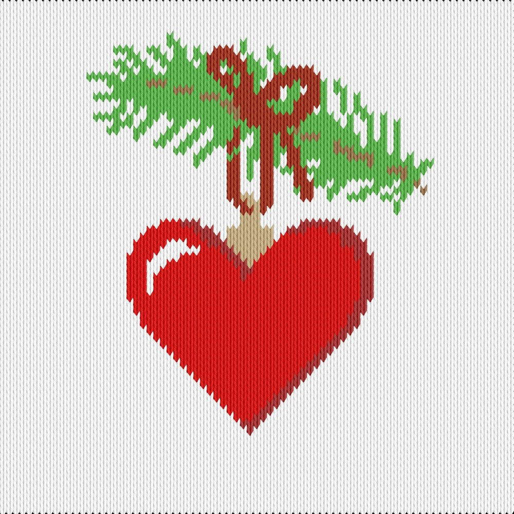 Knitting motif chart, christmas heart