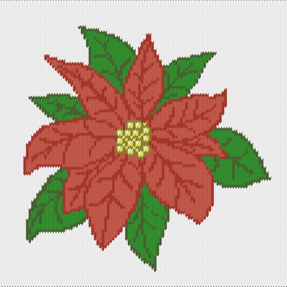 Knitting motif chart, christmas poinsettia