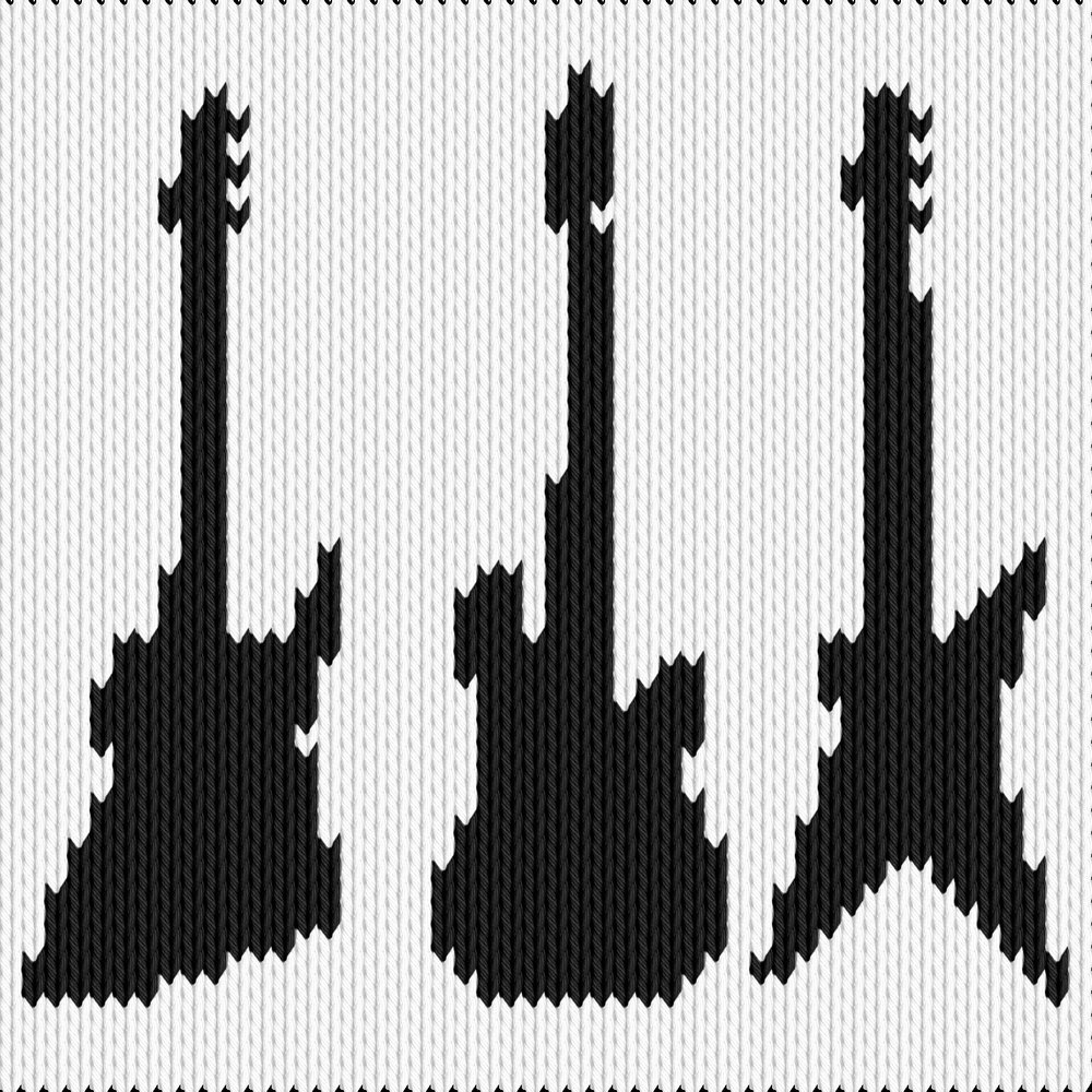 Knitting motif chart, Guitars 2
