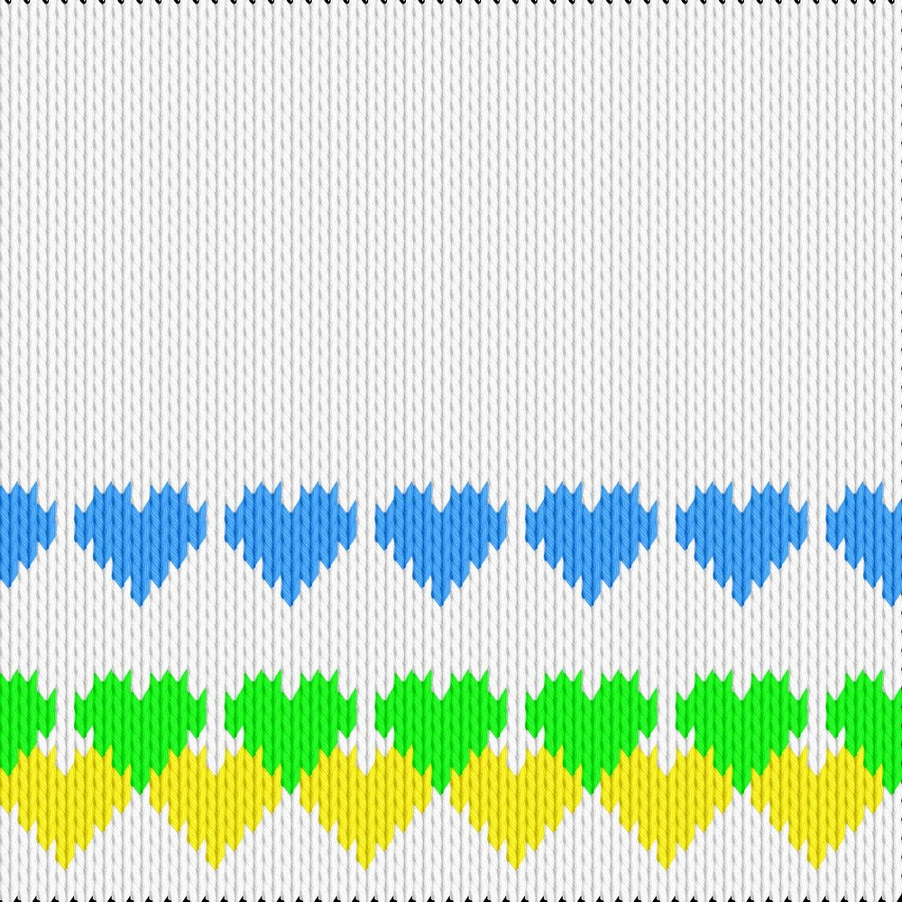 Knitting motif chart, Coloured hearts