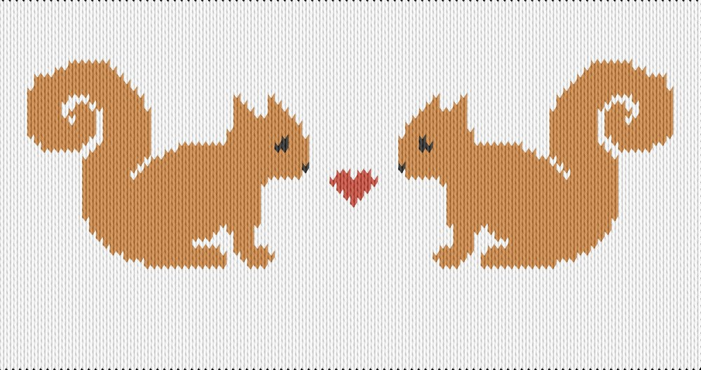 Knitting motif chart, Squirrels