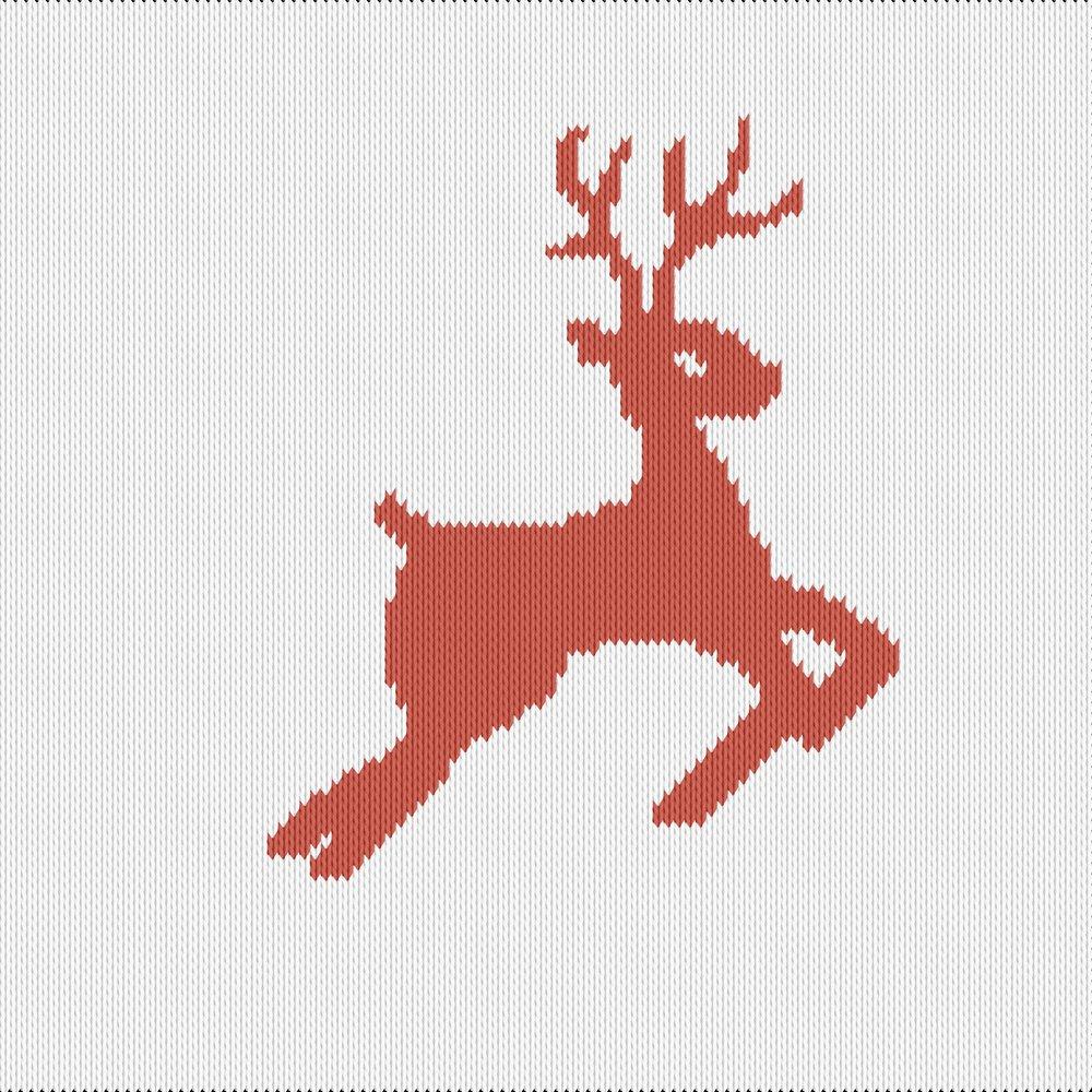 Knitting motif chart, reindeer