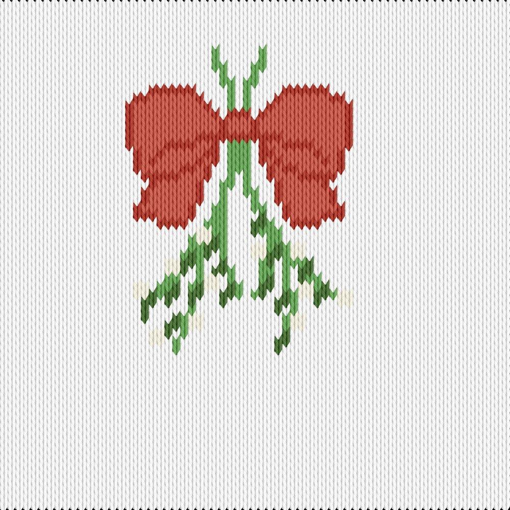 Knitting motif chart, mistletoe