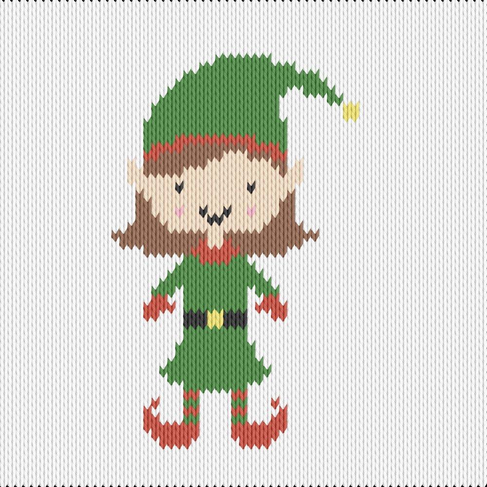 Knitting motif chart, elf