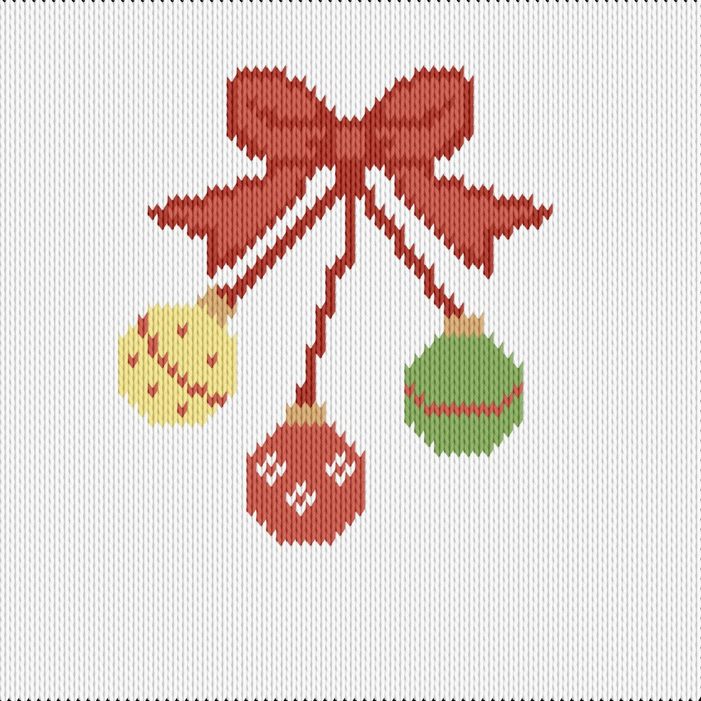 Knitting motif chart, christmas ornaments