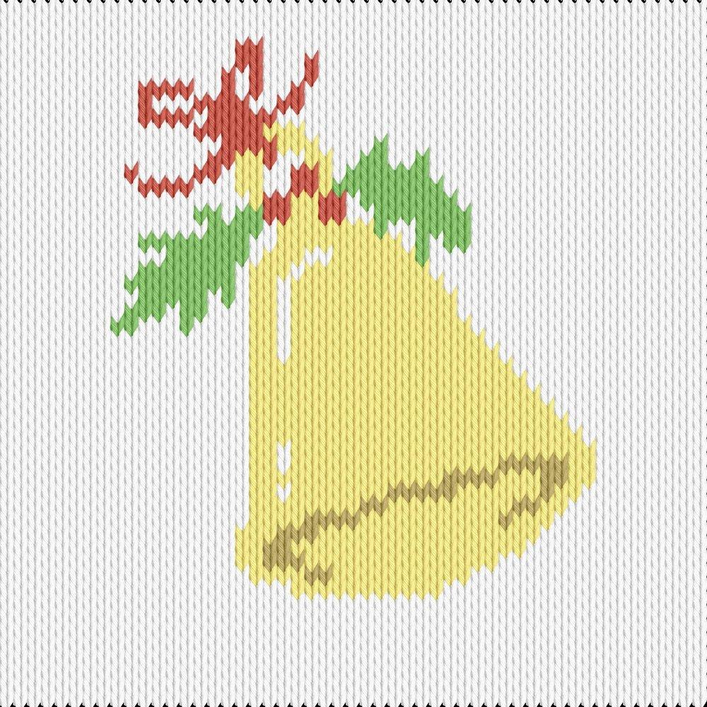 Knitting motif chart, christmas bell