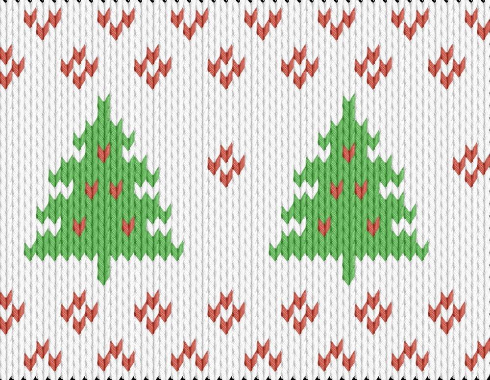 Knitting motif chart, christmas tree pattern