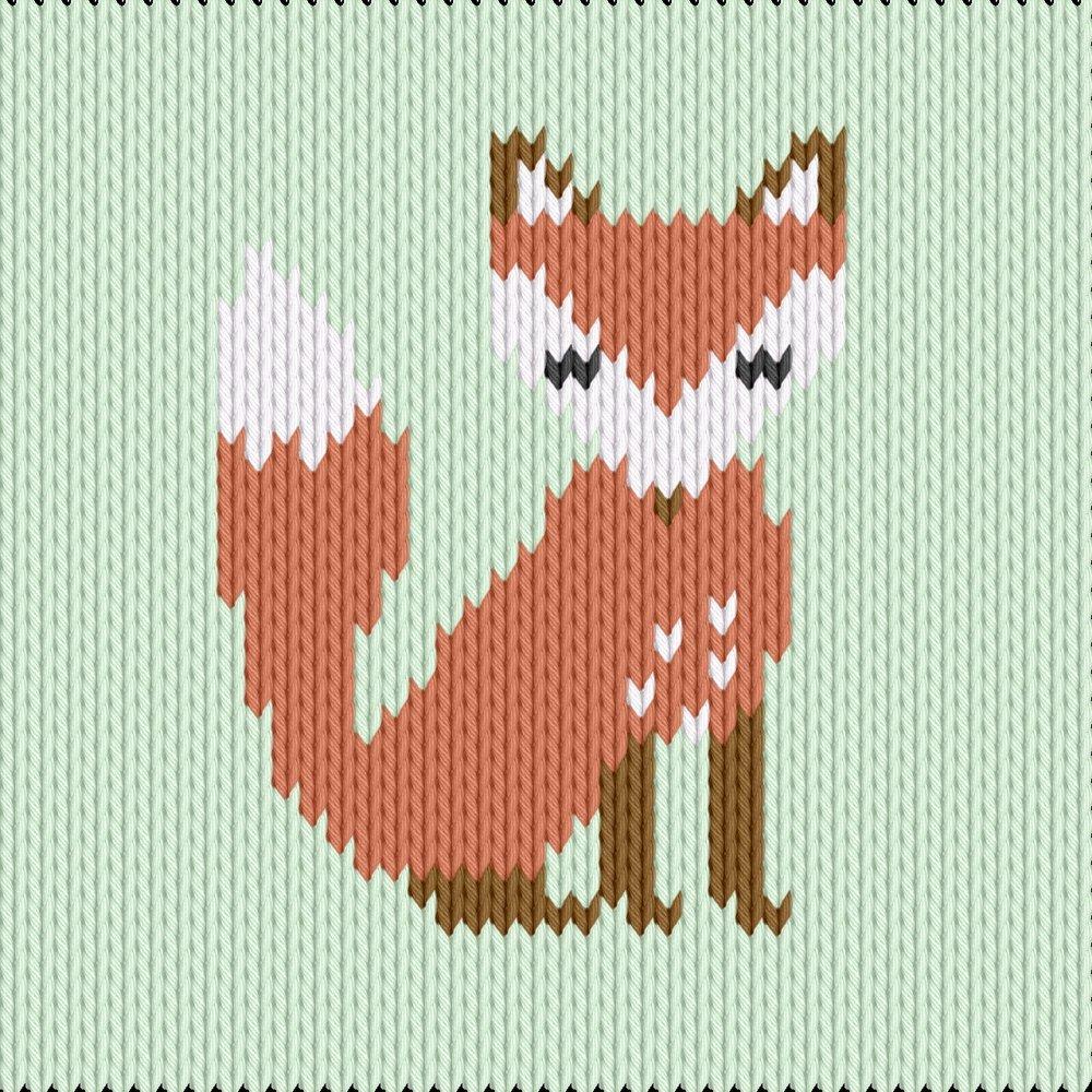 Knitting motif chart, fox