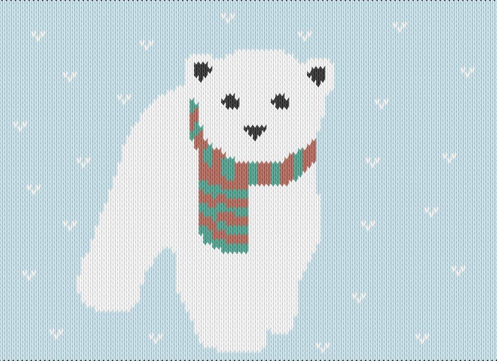 Knitting motif chart, polar bear