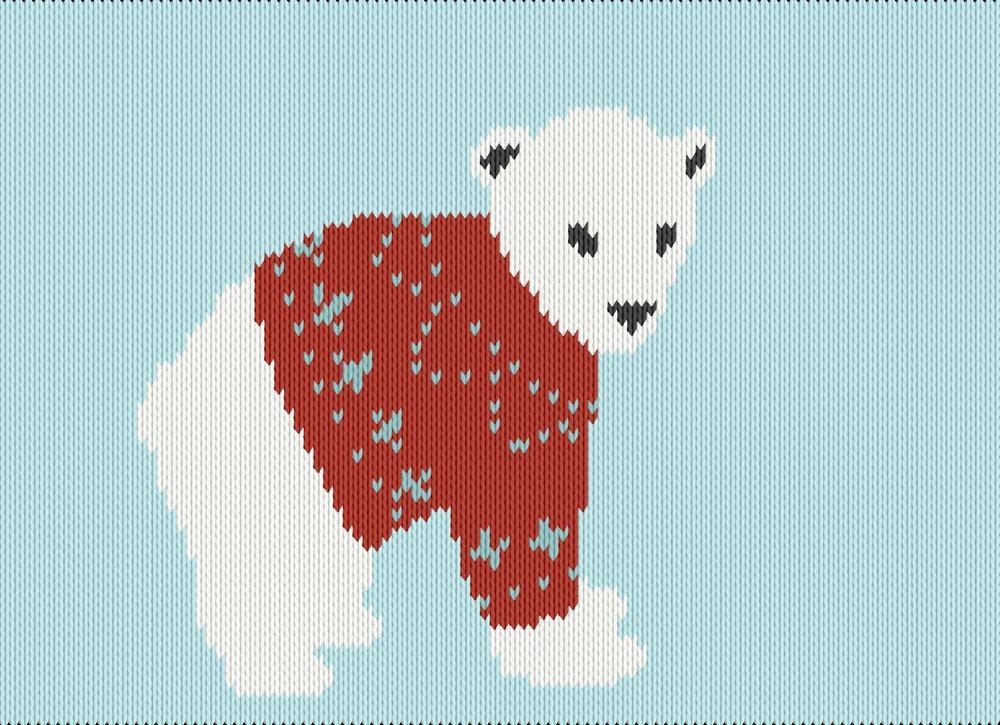 Knitting motif chart, polar bear in sweater