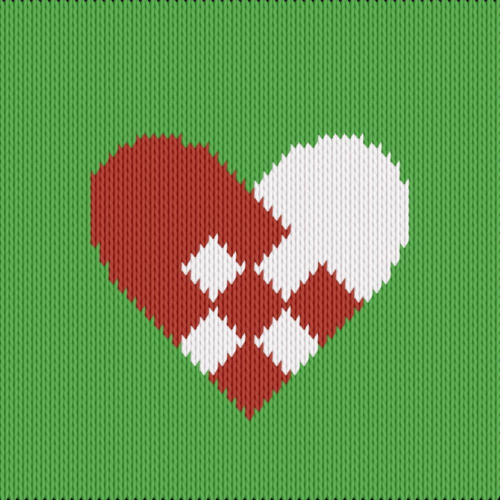 Knitting motif chart, christmas heart