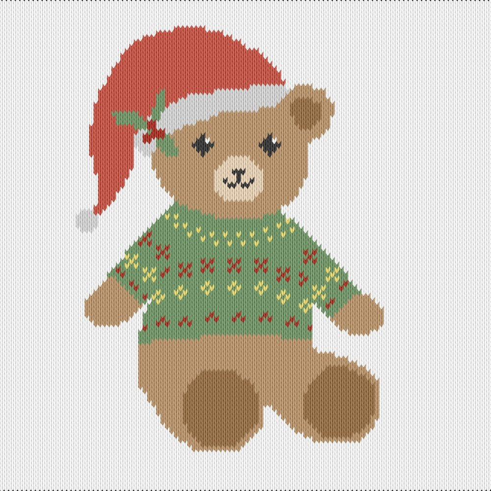 Knitting motif chart, christmas teddy bear