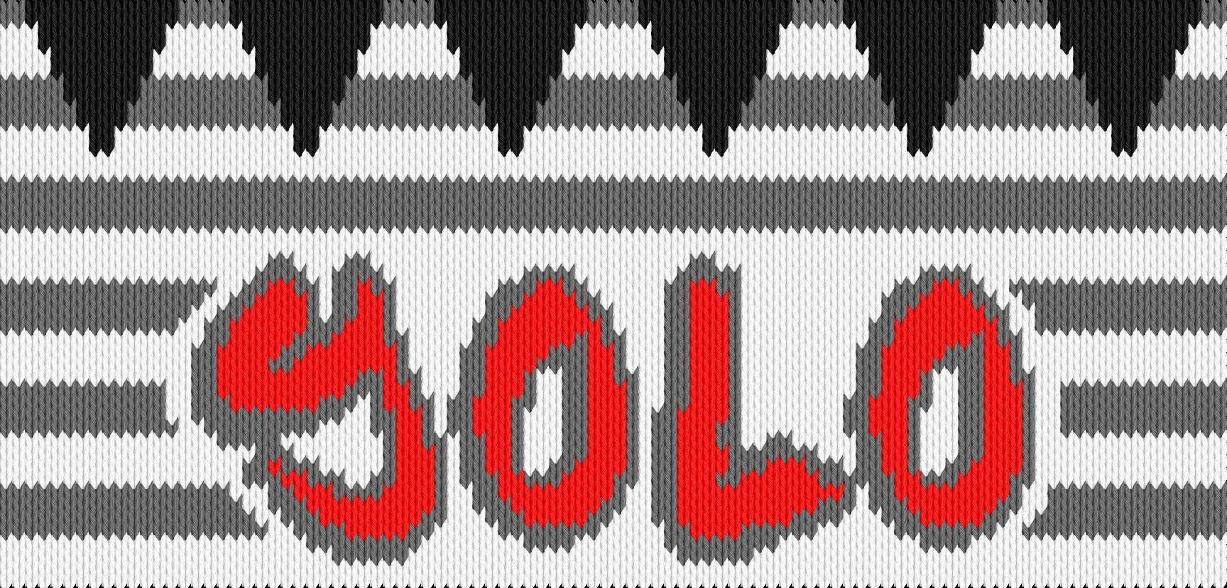 Knitting motif chart, Yolo kids cap 2