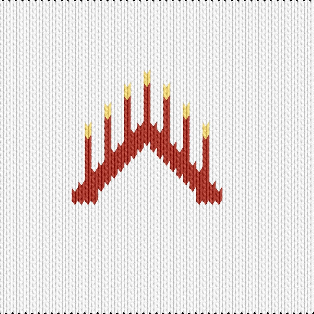Knitting motif chart, advent lys