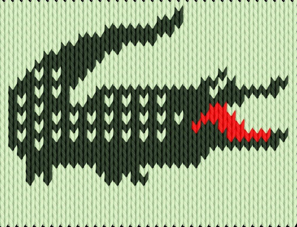 Knitting motif chart, Krokodil